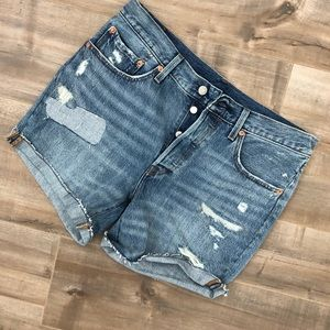 Levi's button fly distressed cutoffs